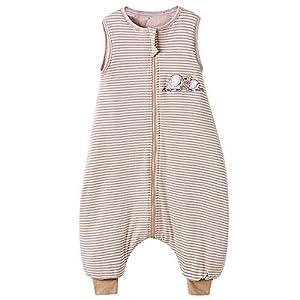 Saco de dormir para bebé de invierno con pies Pijama para niño de algodón a rayas elefante 2,5 tog (85 cm, blanco marrón…