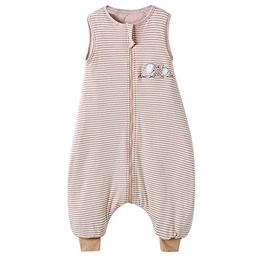Saco de dormir para bebé de invierno con pies Pijama para niño de algodón a rayas elefante 2,5 tog (95 cm, blanco marrón rayado elefante)