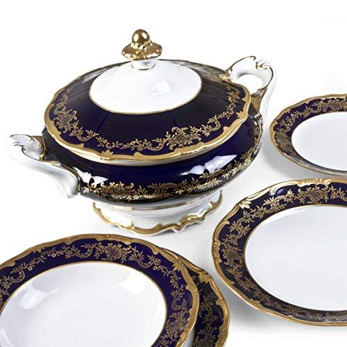 MARTICA Servizio Piatti Elegante dallo Stile Classico in Oro e Cobalto - Caterina Blu