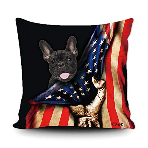 BAGEYOU French Bulldog Lover American Flag Throw Pillow Cover 4th of July Patriotic Decor Home Couch Canvas Pet Pillow Case Cushion Cover 18x18 Inch