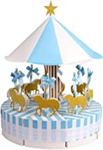 SODIAL Carousel Wedding Favor Boxes Candy Boxes Gifts Box for Wedding, Party, Baby Shower, Birthday Decoration, Blue 1 Set