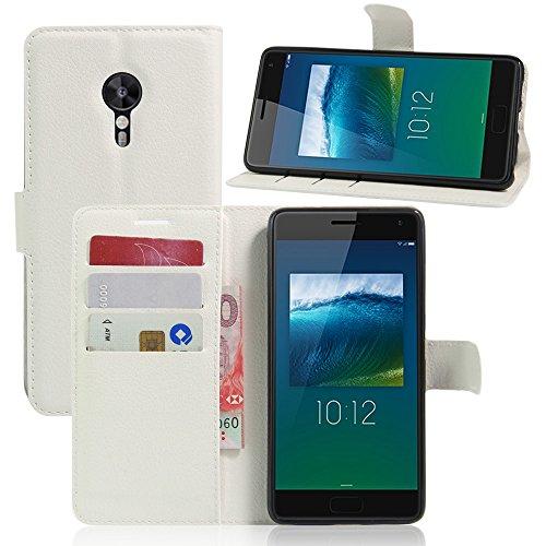 Tasche für Lenovo ZUK Z2 Pro (5.2 zoll) Hülle, Ycloud PU Ledertasche Flip Cover Wallet Hülle Handyhülle mit Stand Function Credit Card Slots Bookstyle Purse Design weiß