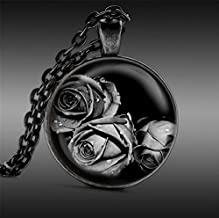 Black Rose Flower Pendant Necklace, Art Glass Jewelry, Gifts for Her or Him Goth Gothic
