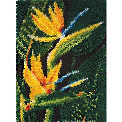 5 Modell DIY Handarbeit Selbst Knüpfen Set Knüpfteppich Formteppich für Kinder und Erwachsene zum Selber Knüpfen Teppich Latch Hook Kit Child Rug,Bird Paradise,50cm/20inch