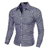 Camisas a cuadros de los hombres de manga larga auto-cultivo camisa traje de trabajo camisa superior solapa profesional hombre ropa