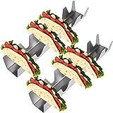 Paquete de 2 Soportes para Tacos de Acero Inoxidable Kare & Kind – Cada Rejilla Soporta hasta 6 Tacos Cada Uno – Seguro para el Horno, Parrilla y Lavavajillas – Tacos Suaves, Tortillas, Burritos