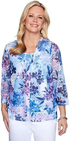 Alfred Dunner Women s Floral Patch Print Two for ONE TOP Navy L product image
