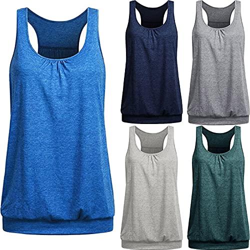 TUDUZ Damen Große Größe Camisole Rundhals Falten T-Shirt Weste Bluse Ärmellos Stretch Tunika Top(L,X-Blau)