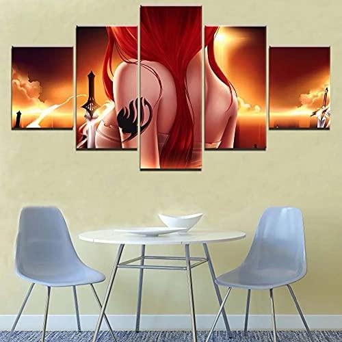 GUANGWEI 5 Piezas De Combinación De Lienzo De Alta Definición Moderno Guerrero De Cola De Hadas Murales De Oficina Sala De Estar Decoración De Dormitorio Habitación De Niños Regalos para El Hogar