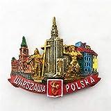 La capital de Polonia, Varsovia, sitio histórico, palacio de arquitectura, cultura y ciencia, refrigerador de resina 3D, imán, artesanía, recuerdos turísticos, artículos para el hogar de cocina