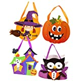 Tomaibaby Cajas de Dulces de Halloween, Calabaza Bruja Truco o Convite Bolso,Caramelo Bolsa,Bolsa de Halloween para Fiestas de Halloween - 4 Piezas