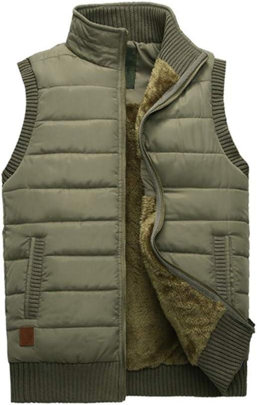 FHK Winter Vest, Cotton Vest Men and Women Autumn and Winter Stand Collar Thick Cotton Vest Warm Vest Workwear Jacket (Color : Khaki, Size : XL)