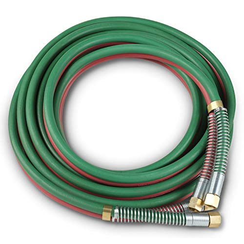 "SPARC Oxy Acetylene Grade T Welding Hose 1/4"" B Fittings + Strain Relief Set 50FT"