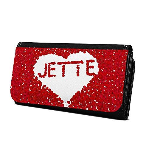 Geldbörse mit Namen Jette - Design Rosenherz - Brieftasche, Geldbeutel, Portemonnaie, personalisiert für Damen und Herren