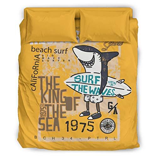 Sunlitrend Juego de ropa de cama de 4 piezas, diseño de tiburón, seda y sin arrugas, 228 x 228 cm, color blanco
