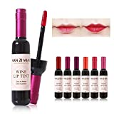 MANZIMIAO 6 Colors Wine Lip Tint, Natural Long Lasting Liquid Lipstick Mini Make Up Lip Gloss Matte Lip Sticks Wine Bottle Cover