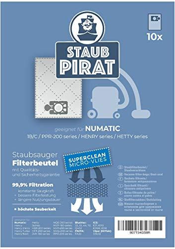 Staub Pirat Staubsaugerbeutel Numatic, Henry, Hetty und viele mehr - 10 Stück