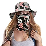 2 Pieces Fishing Bonnie Hat, Camo Hats with Wide Brim for Hiking Camp Travel Wide Brim Sun Protection Cap for Women Men Outdoor, Hiking (Pink Camouflage)