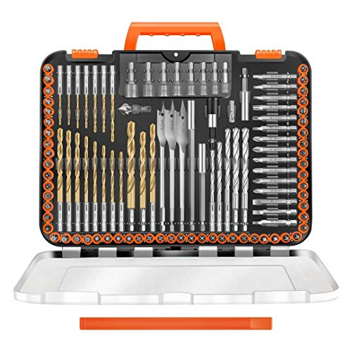 """ENERTWIST Drill Bit Set, 112-Pieces 1/4"""" Hex Shank Impact Driver Bits and Screwdriver Bits Set Assorted in Tough Case for Wood Metal Cement Drilling and Screw Driving, ET-DBA-112"""