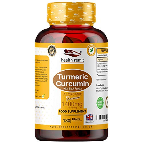 Health Remit's 1400mg Per Serving Organic Turmeric Curcumin and Organic Black Pepper – 180 Turmeric Supplement Curcumin Tablets – Potent, Non-GMO, Vegan