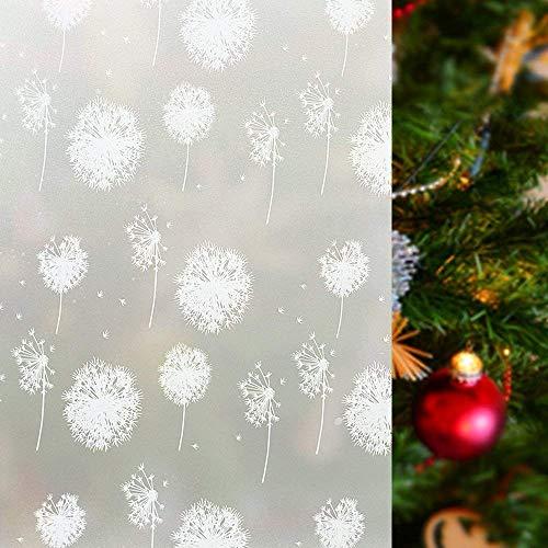 rabbitgoo Fensterfolie Pusteblume Selbstklebend Sichtschutzfolie Milchglasfolie für Bad statische Haftende Folie Anti UV & Sichtschutz 44.5 x 200CM