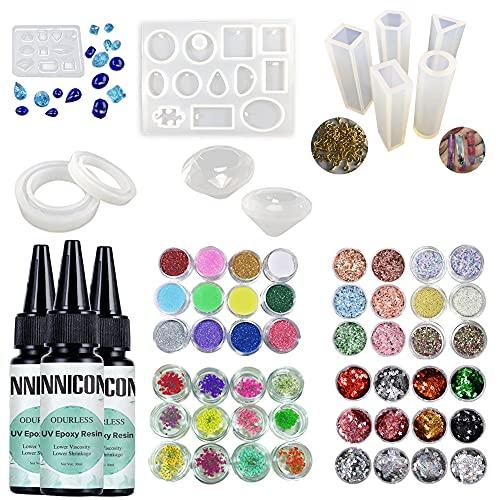 Nueva resina curable sin olor 90ml pegamento UV 11 moldes de silicona 36X lentejuelas purpurina decoraciones en polvo espécimen flor100 tornillos colgantes diamante fabricación de piedras preciosas