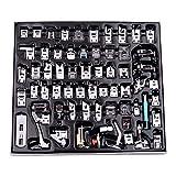 Decdeal Kit de 62 Piezas Multifuncional Prensatelas Accesorios para Máquina de Coser Presser Feet, Pies de Prensatelas para Fabricación Profesional de Costura para Piezas