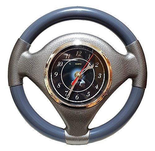 Große Autolenkrad Auto Lenkrad Uhr Wanduhr Garage Büro Werkstatt Bar Deko Werkzeug Mechaniker Wekstattuhr Uhr Clock Grau 25cm Ø