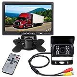 12 V-24 V RV Camión Van Trailer Bus Kit de cámara de seguridad, 7 pulgadas TFTLCD HD Color Monitor + impermeable visión nocturna vehículo aparcamiento marcha atrás cámara de visión trasera