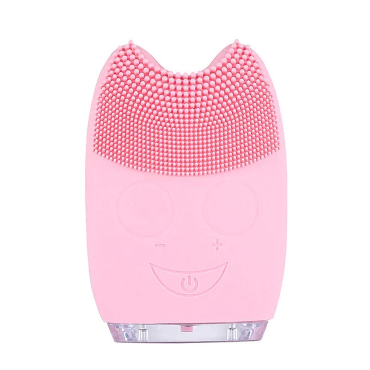 最愛の異なる情熱的Qi フェイシャルクレンザーブラシ、防水ミニ電動マッサージマシンシリコンフェイシャルクレンジングデバイスツール GQ (色 : Pink)