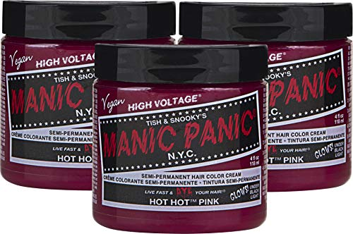 Manic Panic Hot Hot Pink Hair Color Cream (3-Pack) Classic High Voltage - Semi-Permanent Hair...