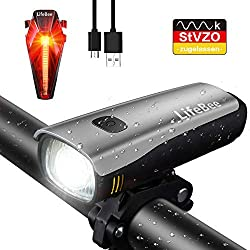 LIFEBEE Bicycle Light Set, StVZO Approved Led Bicycle Lights USB Light Bicycle Set IPX5 Waterproof Bicycle Lamp Lighting Front Light / Taillight 2600mAh Samsung Li-ion for Cycling