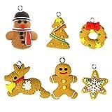 KOKO Zhu Decorazioni Natalizie-6 Pezzi/Set di Ornamenti Ciondolo Albero di Natale Simpatico omino di marzapane Campana Uccello Angelo Decorazione Festa di Natale