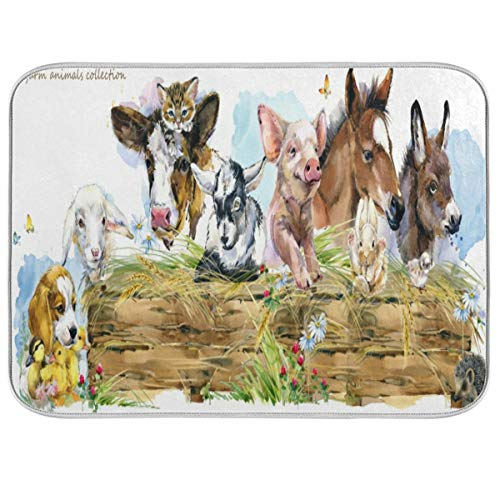 Auskid Watercolor Farm Animals Dish Drying Mats for Kitchen Counter 18 x 24 inch  Ultra Absorbent Microfiber Drying Pad Dish Mat