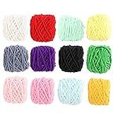 Okuyonic Hilo de Ganchillo Tejido de Lana Gruesa Cómodos chales Suéteres para Tejer Bufandas(A Set of 12 Colors)