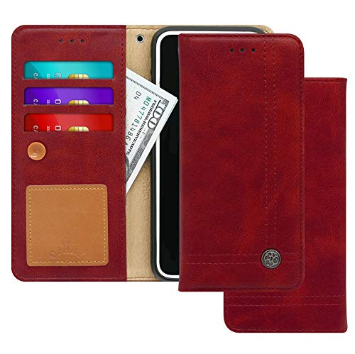 Xiaomi Redmi 5 Plus, Hongmi 5+ Case [Free 9 Gifts] Trim LINE Flip Diary Cover with Slim Wallet Design [Octopus Ver.]– Card Holder, Cash Slots, Kickstand, Hand Strap & Message Pad – Burgundy Red