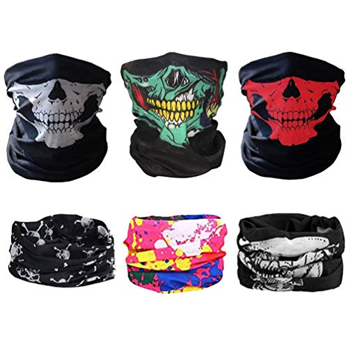 CASKIE Half Skull Face Mask - Motorcycle Sun UV Protection Breathable Bandana Balaclava Headwear, 6 Pack