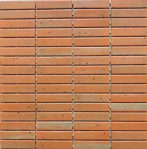 Mosaico sobre red de gres porcelánico de cerámica, fabricado en Italia – Nazca 186 naranja