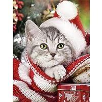 ダイヤモンド絵画、クリスマス5DDiyダイヤモンド絵画猫フルドリルラウンドダイヤモンド刺繡犬冬の装飾ラインストーンの家の写真40x50cm
