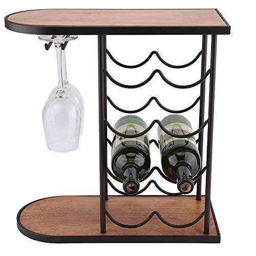 Botellero Pequeño para 8 Botellas y 2 Copas de Vino, Estantería para Botellas de Vino Soporte de Estante de Hierro de Vino Decoración del Hogar