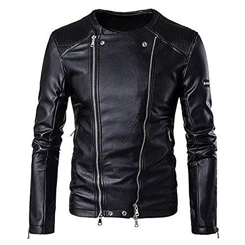 BBring Herren PU Lederjacke, Mode Herbst & Winter Stehkragen BikerJacket Motorradjacke Reißverschluss Outwear Warm Mantel (M, Schwarz)