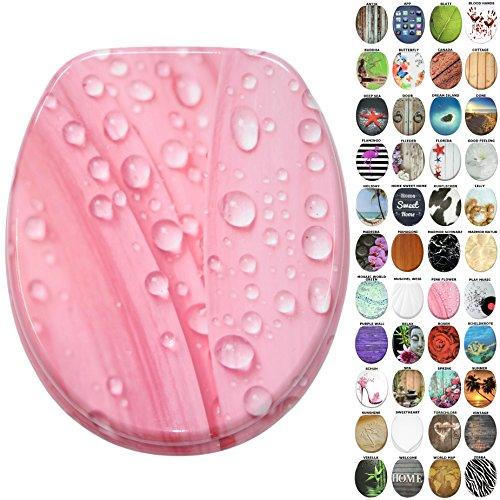 WC Sitz, viele neue WC Sitze zur Auswahl, hochwertige Oberfläche, stabile Scharniere, leichte Montage (Pink Flower)