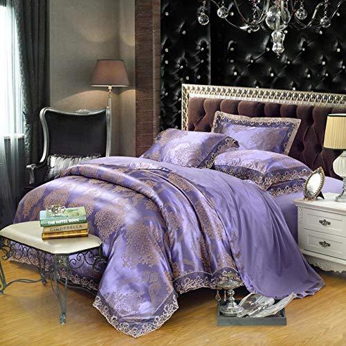 Juego de edredón con 2 fundas de almohada,EUROPEO TIANSI Algodón Satin Jacquard Cuatro sets, algodón se utiliza para la cama de la cama de 1,8 m de la cama, usado en el hotel familiar Habitación infa