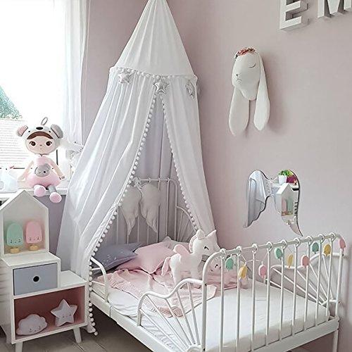 Tyhbelle Baby Baldachin Betthimmel Kinder Babys Bett Baumwolle Hängende Moskiton für Schlafzimmer Ankleidezimmer Spiel Lesen Zeit Höhe 230 cm Saumlänge 270cm (Weiß mit Bommeln)