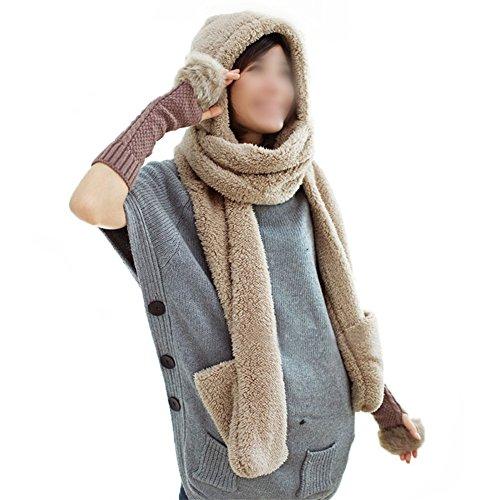 Demarkt Damen Winter Hut Kappen Schal Handschuhe 3 in 1 alle in einem weichen Kappen Hut Schal Handschuhen Kapuzenschal (Hellbraun)