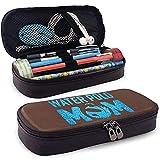 Blue Glitter Water Polo Mom Estuche de cuero para lápices Lápices Marcadores Bolsa para estudiantes Niños Niña Adultos