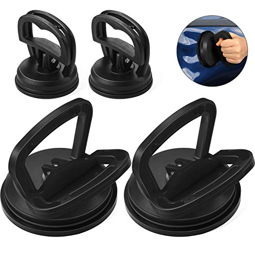Frienda 4 Pieces Suction Cup Set, 2 Large Dent Puller Handle Lifter and 2 Small Dent Remover Tool for Car Body Dent Repair, Glass, Tiles, Mirror, Granite Lifting and Objects Moving (Black)