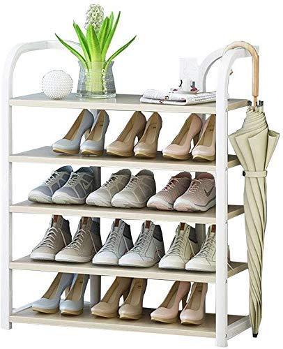 Schoenenrek 70 cm breed vakken organizer verticaal frame van blikstaal + houten plank ideaal voor hal, badkamer, woonkamer en hal (grootte: 70 x 27 x 50 cm)