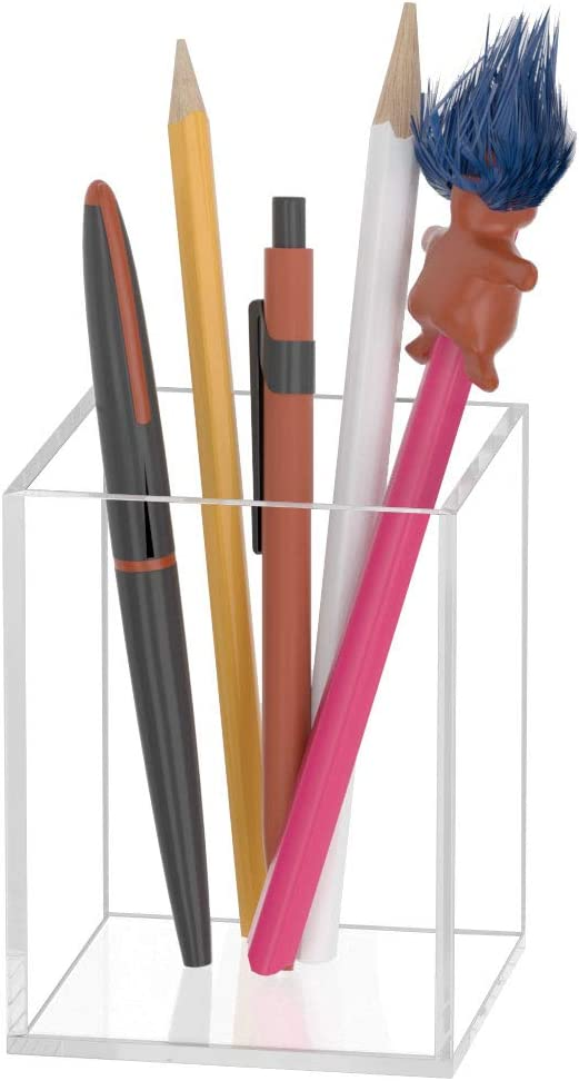 1 Pack, Clear Desktop Pencil Cup Stationery Organizer for Office Desk Accessory Makeup Brush Holder AITEE Black Pencil Holder 1 Pack Acrylic Pen Pot for Desk