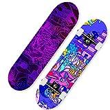 HUADUO Patineta Completa para niñas Maple Longboard 31 Pulgadas Pro Double Kick Penny Skate para Principiantes, Adultos, niños, Adolescentes + Herramienta T-Color I